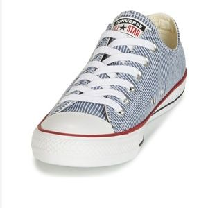Blue and White striped Converse Low Tops